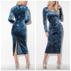 💫New lulus cherish me blue velvet maxi dress
